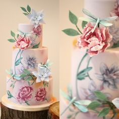 Three tier hand painted Dragonfly wedding cake