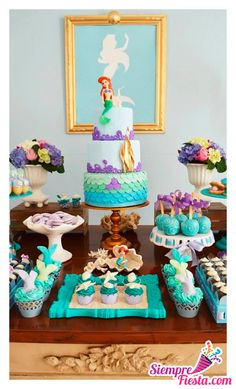 The Little Mermaid Birthday Party Ideas Little Mermaid Parties, The Little Mermaid, 1st Birthday Parties, Girl Birthday, Birthday Ideas, Mermaid Birthday Party Ideas, Cake Birthday, Wedding Parties, 2 Year Old Birthday Party Girl