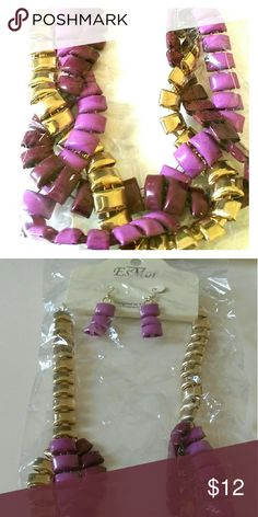 Gold tone Necklace Set Gold tone necklace with purple interlocking strands.  Set includes drop earrings. Jewelry Necklaces
