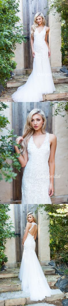 Lace Wedding Dress, Sleeveless Wedding Dress, Open-Back Bridal Dress, Tulle Wedding Dress, Mermaid Wedding Dress, V-Neck Wedding Dress, DA913 #dairybridal  #weddingdresses