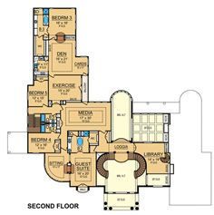 Find your dream mediterranean style house plan such as Plan which is a 10325 sq ft, 5 bed, 6 bath home with 4 garage stalls from Monster House Plans. Mediterranean Bedroom, Mediterranean House Plans, Dream House Plans, House Floor Plans, Dream Houses, Barrel Vault Ceiling, Two Sided Fireplace, Exotic Homes, Grand Foyer