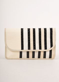Cream and Black Striped Reptile Leather Flap Clutch Bag