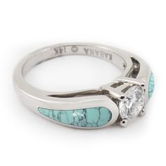 "The ""Stormy Sky - Horizon"" turquoise and diamond engagement ring features unique architecture and a diamond that fits flush against the ring."