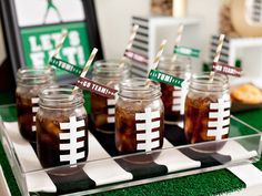 Set up a beer tasting bar or combine Sprite and beer to make a beer punch. If you're feeling crafty, check out this duct tape mason jar idea.
