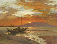 """Fernando Amorsolo y Cueto, Filipino painter, was an important influence on contemporary Filipino art and artists, even beyond the so-called """"Amorsolo school"""". Subjects: Philippine Genre, historical and society Portraits. Impressionist Landscape, Impressionism, Landscape Paintings, Filipino Art, Filipino House, Filipino Culture, Water Artists, Philippine Art, Abstract Painters"""