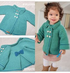 baby girl jacket (has yoke that might work for my project ) sizes 1 to 5 years old Crochet Jacket Pattern, Crochet Baby Jacket, Crochet Coat, Crochet Cardigan Pattern, Crochet Baby Clothes, Crochet Patterns, Crochet Toddler, Baby Girl Crochet, Pull Crochet