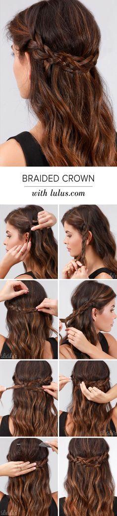 Pretty Braided Crown Hairstyle Tutorials and Ideas / http://www.himisspuff.com/easy-diy-braided-hairstyles-tutorials/32/