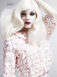Jessica Stam; Pale Hair, Pale Skin, Dark Make-up. 'Gothic'
