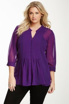 Pleated 3/4 Sleeve Blouse by Dex on @HauteLook  Lots of plus sizes on Haute today  Check it out!!!