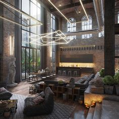Loft living room design with modern industrial style .:separator:Loft living room design with modern industrial style . Loft D'entrepôt, The Loft, Loft Stil, Loft House, Loft Estilo Industrial, Industrial House, Industrial Style, Industrial Apartment, Urban Industrial