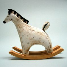 Colorful Miniature Ceramic Rocking Horse with Wood Base; Choi Soo-Jung