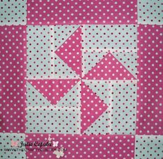 The Crafty Quilter | Dottie pinwheel block with one-seam flying geese! | http://thecraftyquilter.com