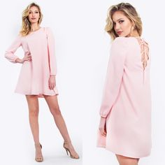 """""""Sweet Tooth"""" Cotton Candy Pink Lace Up Dress Super chic flirty girly pink dress with a lace up detail. Pair it with nude heels. Delicious! Model is wearing size Small. Please do not purchase this listing, I'll provide new listing for you!Thank you! Boutique Dresses"""