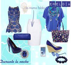 """""""Día/Noche: falda blanca"""" by launet on Polyvore"""