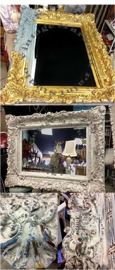 """Tina from Vintage Market & Paint Studio shared this with us """"Before and after of this magnificent framed mirror that I painted for a client this past weekend. The molding on this piece was absolutely stunning! I used milk paint fromThe Real Milk Paint Co. LLCC with French Grey over the gold leaf then top coat in Parchment, distressed to bring out all of the beautiful detail and layers of color with finishing coat in a grey tinted glaze.'"""