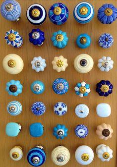 New Blue White Cream Ceramic Drawer Knobs Cupboard Door Knobs Handles | eBay