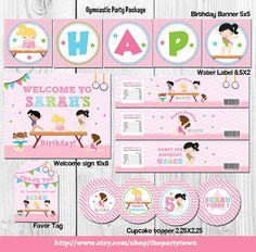 GYMNASTIC Birthday party package Printable by ThePartyTown on Etsy