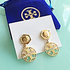 """NEW GOLD DROP PARTY FASHION DESIGN EARRINGS + BAG Gold earrings. Tory Burch design look. Post closure. Drop: 1 1/2"""" Comes with gift bag! Same beautiful design without the costly expense!  NO TRADES NO QUESTIONS FROM NON SERIOUS BUYERS DO NOT ASK ME TO CREATE A BUNDLE UNLESS YOU INTEND TO BUY DO NOT LOWBALL PRICE IS FIRM AND REFLECTED ON FEES AND OUT OF POCKET COSTS Boutique Jewelry Earrings"""