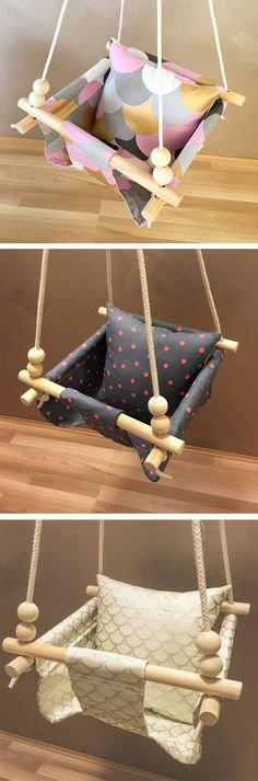 Perfect Pink Swing / Handmade Burlap Baby Swing, Toddler Swing or Kids Swing and Rattle (Baby Diy Projects) Burlap Baby, Kids Swing, Child Swing, Child Sleep, Diy Bebe, Baby Swings, Baby Crafts, Kids And Parenting, Babies Rooms
