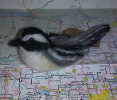 """Zippy"" the Chickadee; 2014; needle felted sculpture by Holly Boone of Polar Lights Art Studio. Currently located at the Alberta Craft Council. - SOLD! http://polarlightsart.wix.com/plas#!hollys-work/cq0w"
