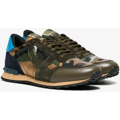 Valentino Valentino Garavani Rockrunner Sneakers (24,105 THB) ❤ liked on Polyvore featuring men's fashion, men's shoes, men's sneakers, brown, mens camo sneakers, mens rubber sole shoes, mens camo shoes, mens brown shoes and valentino mens shoes
