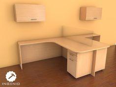 Mueble oficina + 2 modulares con cajones movibles + muebles aéreos.Todo en tablero de melamina color Haya.