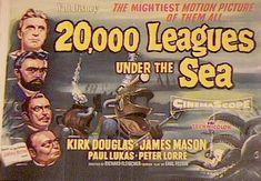 Walt Disney's Leagues Under the Sea, Jules Verne classic about Captain Nemo and his submarine the Nautilus, starring Kirk Douglas, James Mason and Peter Lorre. The Sea Movie, Horror Posters, Movie Posters, Disney Posters, Paul Lukas, Peter Lorre, Adventure Novels, Turner Classic Movies, Leagues Under The Sea