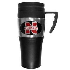 """Checkout our #LicensedGear products FREE SHIPPING + 10% OFF Coupon Code """"Official"""" Nebraska Cornhuskers Steel Travel Mug w/Handle - Officially licensed College product    Nebraska Cornhuskers - Price: $23.00. Buy now at https://officiallylicensedgear.com/nebraska-cornhuskers-steel-travel-mug-w-handle-cptm3"""