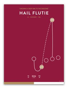 Hail Flutie  $35.00  The Hail Flutie game is a college football game that took place between the Boston College Eagles and University of Miami Hurricanes on November 23, 1984. It has been regarded by FOX Sports writer Kevin Hench as among the most memorable moments in sports. The game is most notable for a last-second Hail Mary pass from quarterback Doug Flutie to wide receiver Gerard Phelan to give Boston College the win. Miami was the defending national champion.
