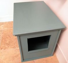 Kitty Furniture Litter Box Hider (buy scrap linoleum cut into plus symbol shape apply to bottom and fold up sides, seal with caulk)