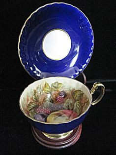 Aynsley China Cobalt Orchard Bone China Cup & Saucer. Click on the image for more information.