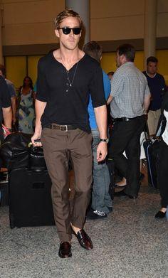 Ryan Gosling in Long Sleeve Henley + Brown Pants + Loafers