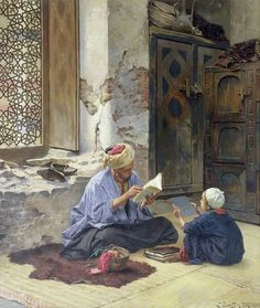 An Arab Schoolmaster Ludwig Deutsch Touchstones Rochdale Arts and Heritage Centre Painting - oil on panel Islamic Paintings, Old Paintings, Art Arabe, Middle Eastern Art, Arabian Art, Kunst Online, Old Egypt, Pics Art, Ludwig