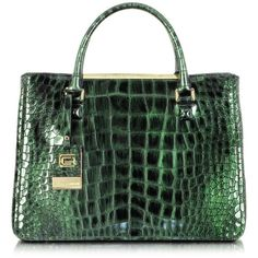 Class Roberto Cavalli Kate Dark Green Croco Embossed Leather Tote ($640) ❤ liked on Polyvore featuring bags, handbags, tote bags, borse, purses, green, handbags tote bags, tote purse, green tote and handbags totes