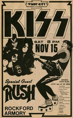 Framed Vintage Music Concert Poster – KISS with Rush (Replica Picture Artwork)