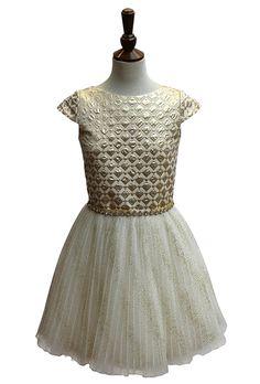 Brides: David Charles. Gold and ivory party dress, $425, David Charles