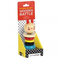 Classic meets modern with this wooden baby rattle from Petit Collage! Baby will love the soothing click-clack sound and bright colorful rings that are perfect for grasping. Shop more eco-friendly and fun toys at Our Green House! Wooden Baby Rattle, Wooden Baby Toys, Wood Toys, Toddler Toys, Kids Toys, Baby Sense, Wooden Rabbit, Collage Making, Creative Play