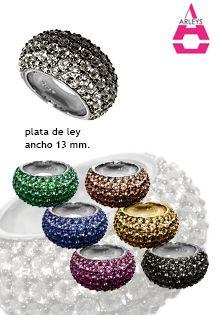 Anillos de plata de lujo para mujer y señora de Arleys Jewelry, anillos cuajados de circonitas en varios colores a elegir.
