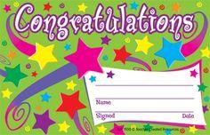 Teacher Created Resources Congratulations Awards X As Shown Certificate Of Achievement, Award Certificates, Certificate Templates, Preschool Certificates, Certificate Design, Graduation Songs, Kids Awards, Star Students, Teacher Created Resources