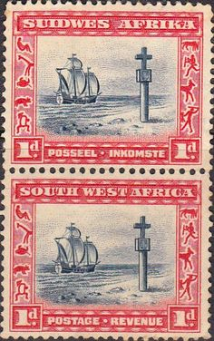 South West Africa 1931 Cape Cross Vertical Pair SG 75 Fine Mint SG 75 Scott 109 British Commonwealth stamps for sale here German Pop, Union Of South Africa, South Afrika, Buy Stamps, West Africa, Stamp Collecting, Postage Stamps, Art Forms, Bohemian Rug