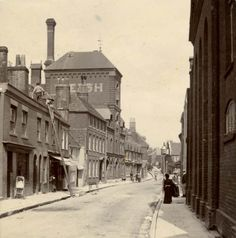 Image of Hyde Street, Winchester looking north c. Winchester Castle, Winchester England, Winchester Hampshire, Hampshire England, Southampton England, Hyde, Old Pictures, Brewery, Cities