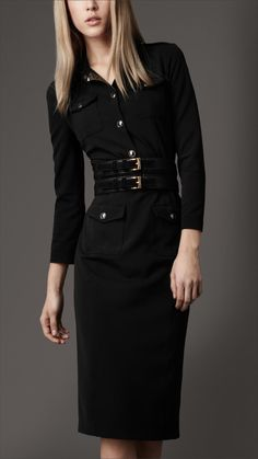 Modern work dress with structure.