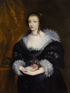 1620s-30s judging by the clothes - Sir Anthonis van Dyck, Portrait of Henrietta Maria of France (1609 - 1669)