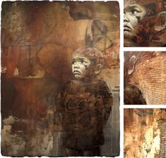 Jonathan Darby's art commonly explores humanitarian themes, depicting vulnerable children. In this work (enlarged details shown on the right), painting on newspaper is highly appropriate, as it suggests the child is lost in a landscape filled with litter: discarded. The beauty and innocence of the child are in stark contrast to the gritty, sorrow that surrounds him.