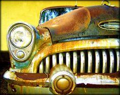 Vintage Dreams - Rusty Old Car Artwork photography 11x14 Print Head Light Yellow Brown Blues. $20.00, via Etsy.
