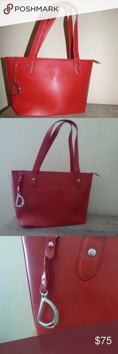 783caaf560 Lauren by Ralph Lauren Newbury Shopper Handbag Red Elegant Ralph Lauren  Shopper- crafted in rich
