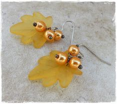 Leaf and pearl earrings Golden earrings Gold coloured Lucite