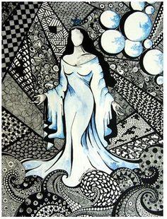 Iemanjá, a rainha das águas. Nanquim sobre papel canson e aquarela.
