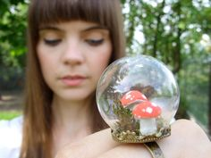 mini terrarium ring miniature terrarium jewelry moss toadstool woodland green brown glass dome forest mushroom red white