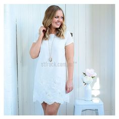 Lacey and Lovely! The 'Paige Shift Dress' is the dress perfect for any style! It's chic and oh so cute! Shop it now at shop.stfrock.com.au for $49.90 #stfrock #shiftdress #white #lace